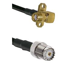 SMA 2 Hole Right Angle Female on LMR200 UltraFlex to Mini-UHF Female Cable Assembly
