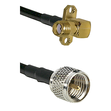 SMA 2 Hole Right Angle Female on LMR200 UltraFlex to Mini-UHF Male Cable Assembly