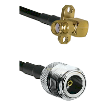 SMA 2 Hole Right Angle Female on LMR200 UltraFlex to N Female Cable Assembly