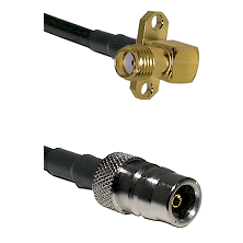 SMA 2 Hole Right Angle Female on LMR200 UltraFlex to QN Female Cable Assembly