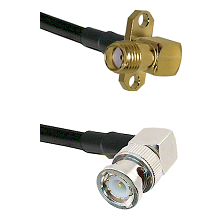 SMA 2 Hole Right Angle Female on LMR200 UltraFlex to BNC Right Angle Male Cable Assembly