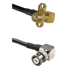 SMA 2 Hole Right Angle Female on LMR200 UltraFlex to MHV Right Angle Male Cable Assembly