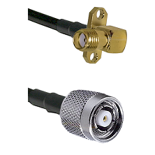SMA 2 Hole Right Angle Female on LMR200 UltraFlex to TNC Reverse Polarity Male Coaxial Cable Assembl