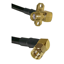 SMA 2 Hole Right Angle Female on LMR200 UltraFlex to SMA Right Angle Male Cable Assembly