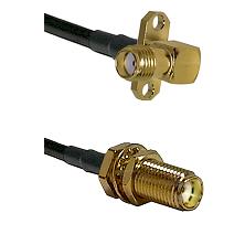 SMA 2 Hole Right Angle Female on LMR200 UltraFlex to SMA Female Bulkhead Cable Assembly