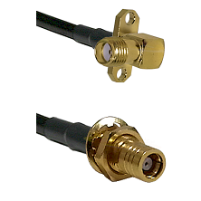 SMA 2 Hole Right Angle Female on LMR200 UltraFlex to SMB Female Bulkhead Cable Assembly
