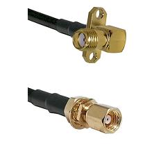SMA 2 Hole Right Angle Female on LMR200 UltraFlex to SMC Female Bulkhead Cable Assembly