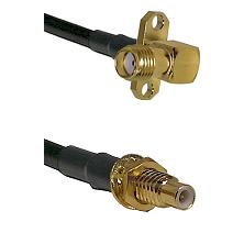 SMA 2 Hole Right Angle Female on LMR200 UltraFlex to SMC Male Bulkhead Cable Assembly