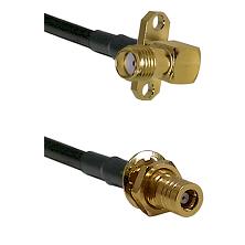 SMA 2 Hole Right Angle Female on LMR200 to SSLB Female Bulkhead Cable Assembly