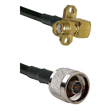 SMA 2 Hole Right Angle Female on LMR240 Ultra Flex to N Reverse Thread Male Cable Assembly