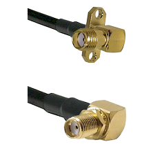 SMA 2 Hole Right Angle Female Connector On LMR-240UF UltraFlex To SMA Reverse Thread Right Angle Fem