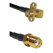 SMA 2 Hole Right Angle Female Connector On LMR-240UF UltraFlex To SMA Reverse Thread Female Connecto