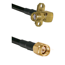 SMA 2 Hole Right Angle Female on LMR240 Ultra Flex to SMA Reverse Thread Male Cable Assembly