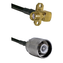 SMA 2 Hole Right Angle Female Connector On LMR-240UF UltraFlex To SC Male Connector Coaxial Cable As