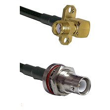 SMA 2 Hole Right Angle Female Connector On LMR-240UF UltraFlex To SHV Bulkhead Jack Connector Coaxia