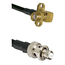 SMA 2 Hole Right Angle Female Connector On LMR-240UF UltraFlex To SHV Plug Connector Coaxial Cable A