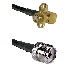 SMA 2 Hole Right Angle Female on LMR240 Ultra Flex to UHF Female Cable Assembly