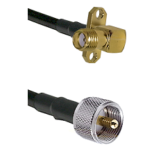 SMA 2 Hole Right Angle Female on LMR240 Ultra Flex to UHF Male Cable Assembly
