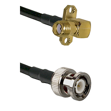 SMA 2 Hole Right Angle Female on RG142 to BNC Male Cable Assembly