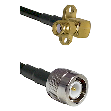 SMA 2 Hole Right Angle Female on RG142 to C Male Cable Assembly