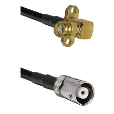 SMA 2 Hole Right Angle Female on RG142 to MHV Female Cable Assembly