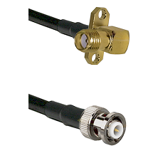 SMA 2 Hole Right Angle Female on RG142 to MHV Male Cable Assembly