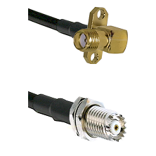 SMA 2 Hole Right Angle Female on RG142 to Mini-UHF Female Cable Assembly