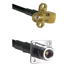 SMA 2 Hole Right Angle Female on RG142 to N 4 Hole Female Cable Assembly