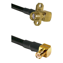 SMA 2 Hole Right Angle Female on RG400 to MCX Right Angle Male Cable Assembly