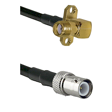SMA 2 Hole Right Angle Female on RG400 to BNC Reverse Polarity Female Cable Assembly
