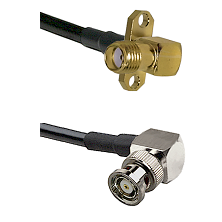 SMA 2 Hole Right Angle Female on RG400 to BNC Reverse Polarity Right Angle Male Coaxial Cable Assemb