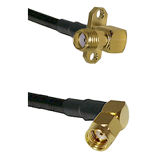 SMA 2 Hole Right Angle Female on RG400 to SMA Reverse Polarity Right Angle Male Coaxial Cable Assemb