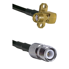 SMA 2 Hole Right Angle Female on RG400 to TNC Reverse Polarity Female Cable Assembly