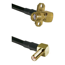 SMA 2 Hole Right Angle Female on RG400 to SLB Right Angle Male Cable Assembly