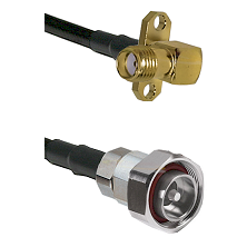 SMA 2 Hole Right Angle Female on RG58C/U to 7/16 Din Male Cable Assembly