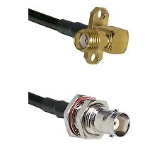 SMA 2 Hole Right Angle Female on RG58C/U to BNC Female Bulkhead Cable Assembly