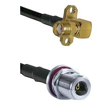 SMA 2 Hole Right Angle Female on RG58C/U to N Female Bulkhead Cable Assembly