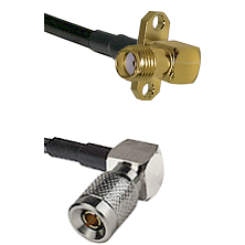 SMA 2 Hole Right Angle Female on RG58C/U to 10/23 Right Angle Male Cable Assembly