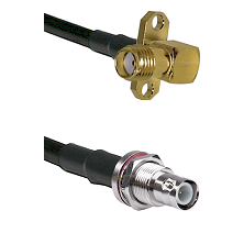 SMA 2 Hole Right Angle Female on RG58C/U to BNC Reverse Polarity Female Bulkhead Coaxial Cable Assem