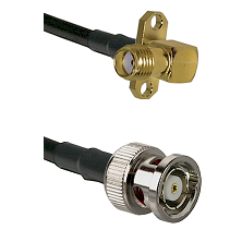 SMA 2 Hole Right Angle Female on RG58C/U to BNC Reverse Polarity Male Cable Assembly
