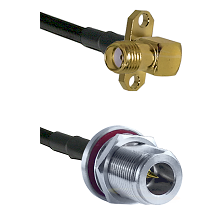 SMA 2 Hole Right Angle Female on RG58C/U to N Reverse Polarity Female Bulkhead Coaxial Cable Assembl