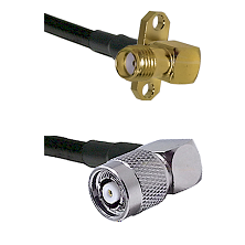 SMA 2 Hole Right Angle Female on RG58C/U to TNC Reverse Polarity Right Angle Male Coaxial Cable Asse