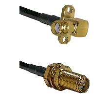 SMA 2 Hole Right Angle Female on RG58C/U to SMA Reverse Polarity Female Bulkhead Coaxial Cable Assem