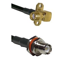 SMA 2 Hole Right Angle Female on RG58C/U to TNC Reverse Polarity Female Bulkhead Coaxial Cable Assem