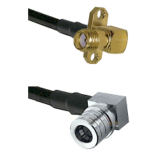 SMA 2 Hole Right Angle Female on RG58C/U to QMA Right Angle Male Cable Assembly