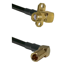 SMA 2 Hole Right Angle Female on RG58C/U to SLB Right Angle Female Cable Assembly