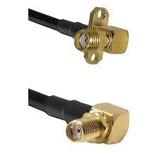 SMA 2 Hole Right Angle Female on RG58C/U to SMA Right Angle Female Bulkhead Cable Assembly