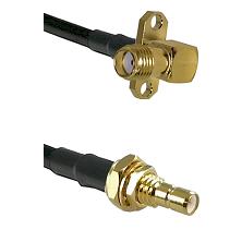 SMA 2 Hole Right Angle Female on RG58C/U to SMB Male Bulkhead Cable Assembly