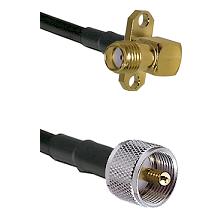 SMA 2 Hole Right Angle Female on RG58C/U to UHF Male Cable Assembly