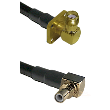 SMA 4 Hole Right Angle Female on Belden 83242 RG142 to SSMC Right Angle Male Cable Assembly